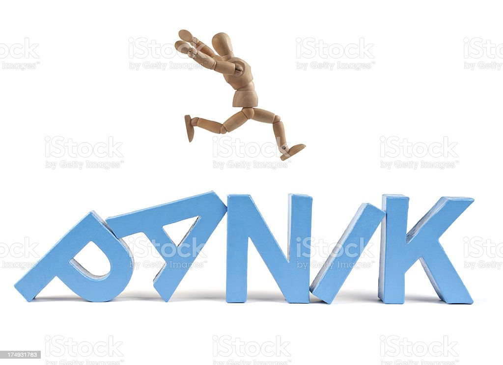 Panik - Wooden Mannequin demonstrating this word stock photo