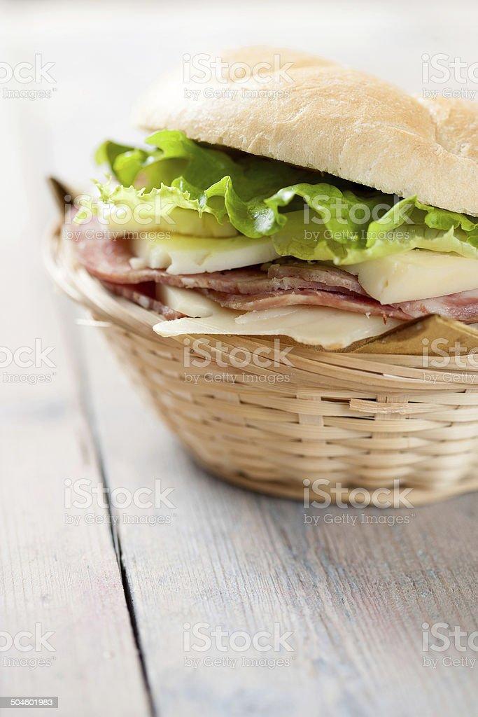 Panino al salame e formaggio stock photo