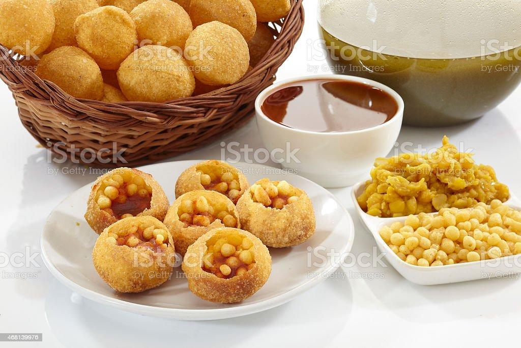 Panipuri, Golgappe, Chat food, India stock photo