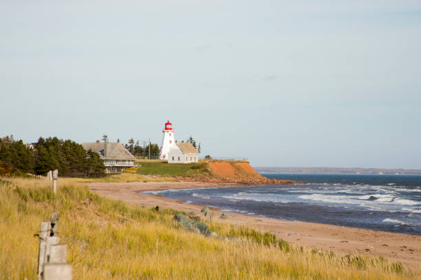 panmure island lighthouse, pei - prince edward island stock photos and pictures