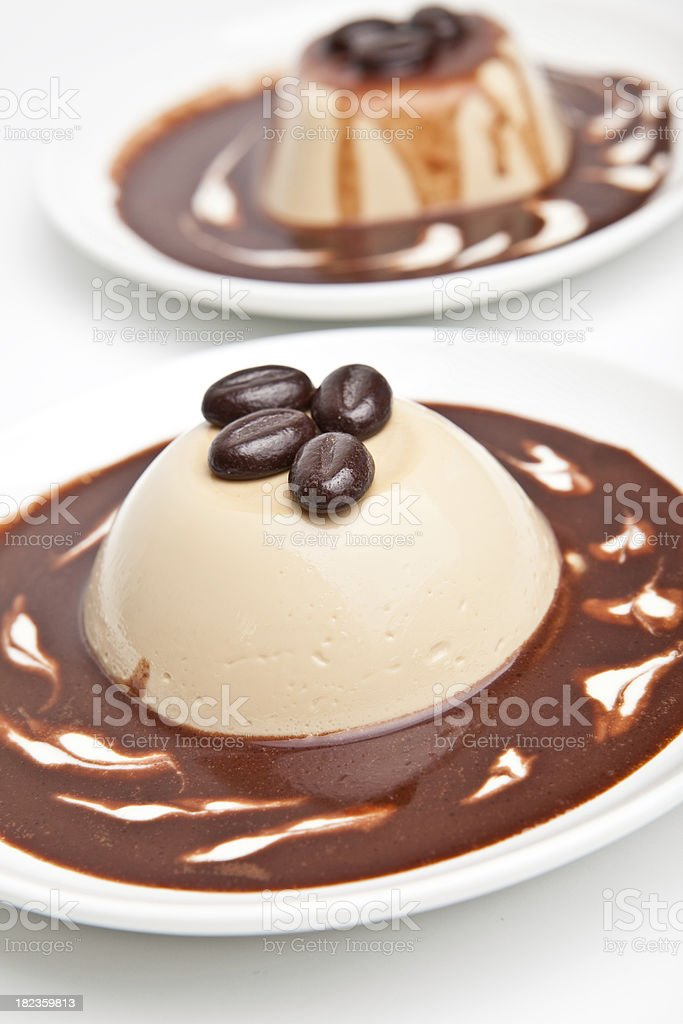 panna cotta dessert with coffee royalty-free stock photo