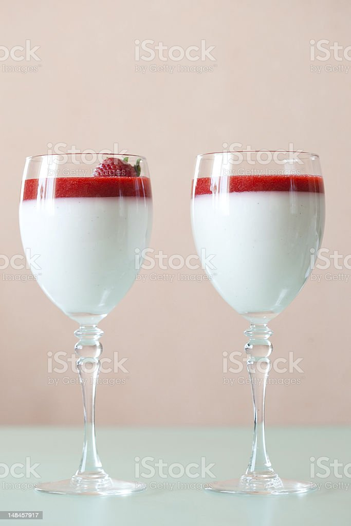 panna cotta dessert with strawberry sirup royalty-free stock photo