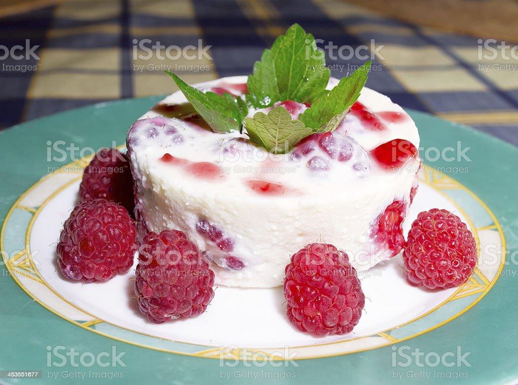 Panna cotta Italian dessert  with raspberry royalty-free stock photo