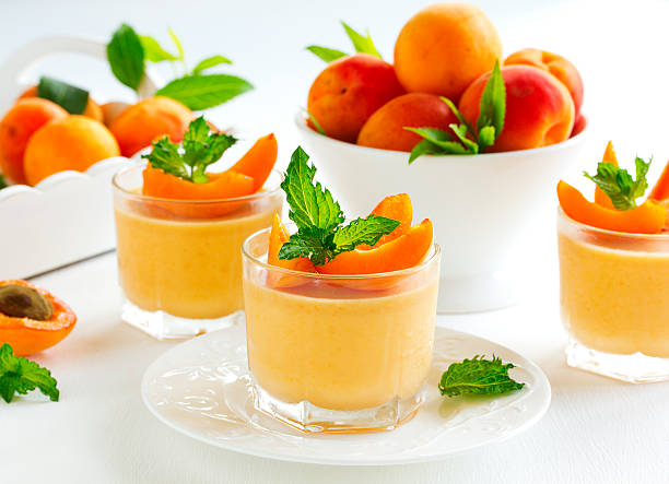 panna cotta with apricots stock photo