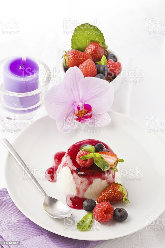 Panna Cotta with Berries royalty-free stock photo