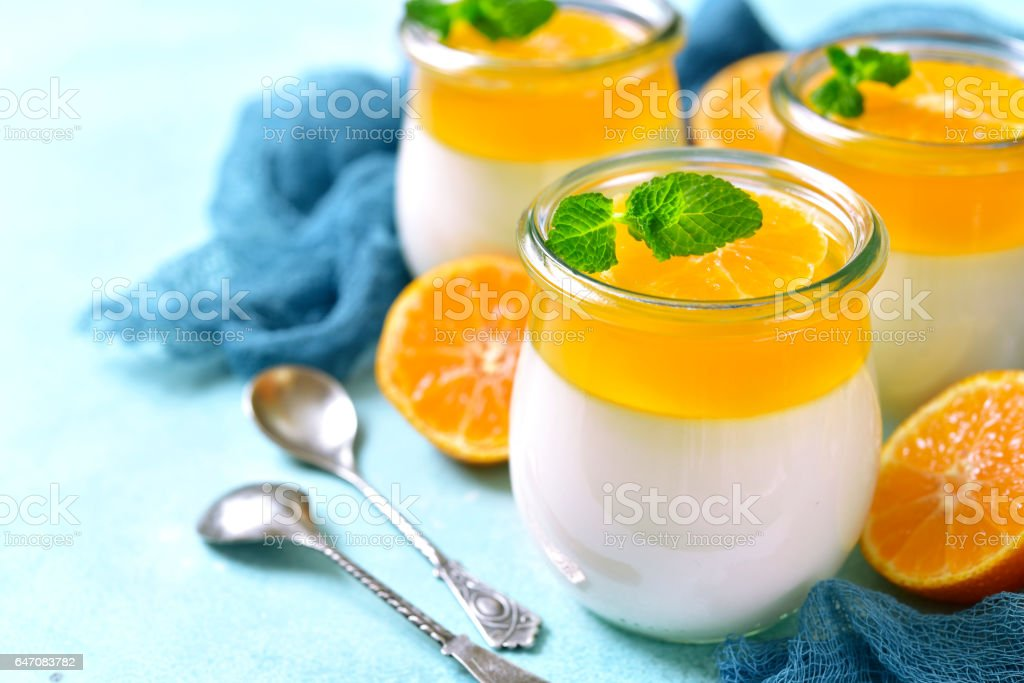 Panna cotta with orange jelly.