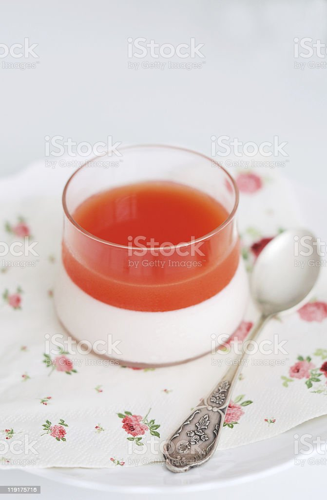 Panna cotta with red grapefruit jelly royalty-free stock photo