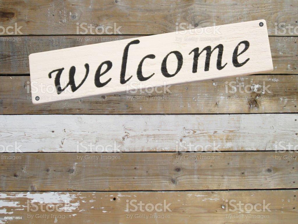Panneau de bienvenue - Welcome stock photo