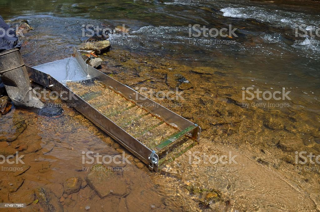Panning for gold with a sluice box stock photo