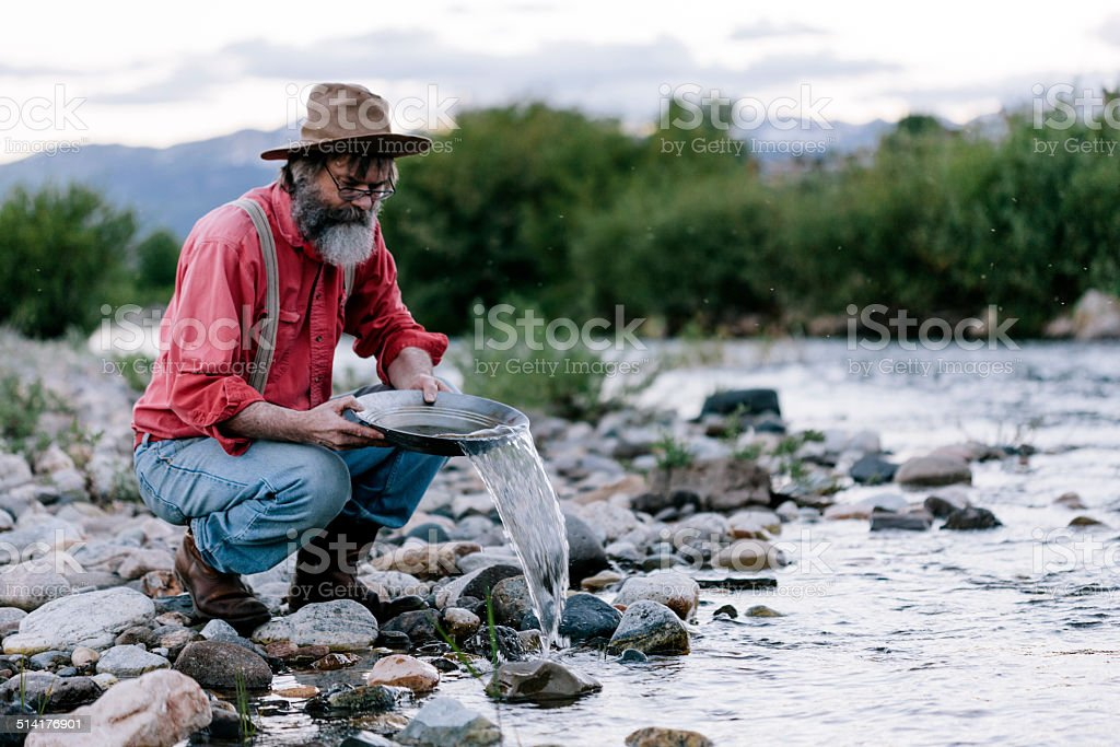 Panning for gold, Yellowstone stock photo