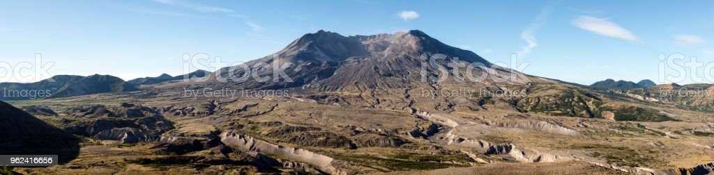 Pano of Mount Saint Hellens in morning light stock photo