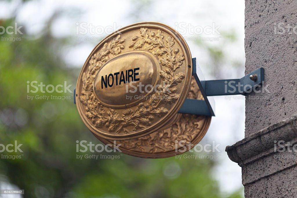 Panonceau de notaire stock photo