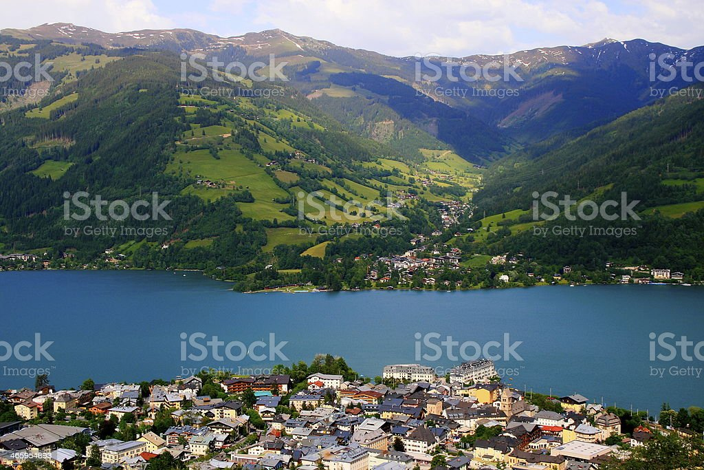 Panorama Above Zell Am See and Zeller lake, Austria stock photo