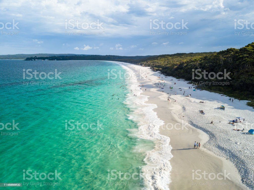 Panorama Aerial Drone Picture of the white sand Hyams beach in New South Wales, Australia Shot with the DJI Mavic Pro Australia Stock Photo