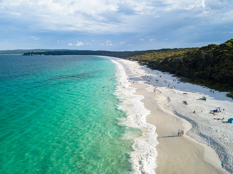 Panorama Aerial Drone Picture Of The White Sand Hyams Beach In New South Wales Australia Stock Photo - Download Image Now