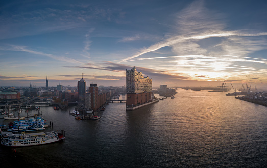 Panorama Aerial view from the Port of Hamburg with beautiful Sunrise