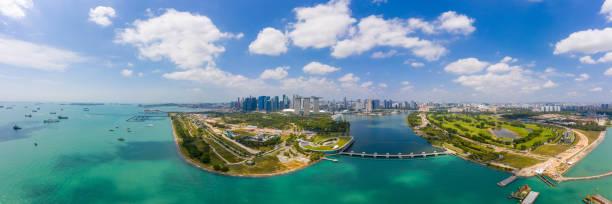 Vista aérea panorámica del horizonte de la ciudad de Singapur. La mejor vista de Singapur - foto de stock