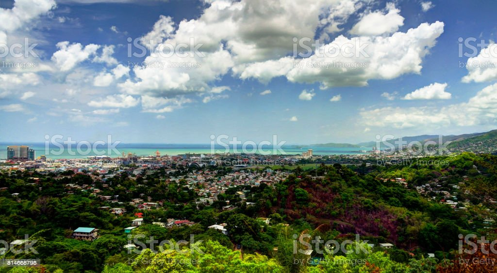 Panorama aerial view to Port of Spain, Trinidad and Tobago stock photo