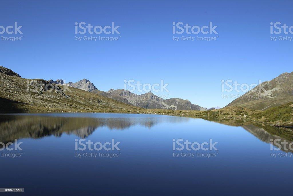 Panorama Alpine Mountain Lake Hirschebensee, Kühtai, Tyrol, Austria royalty-free stock photo