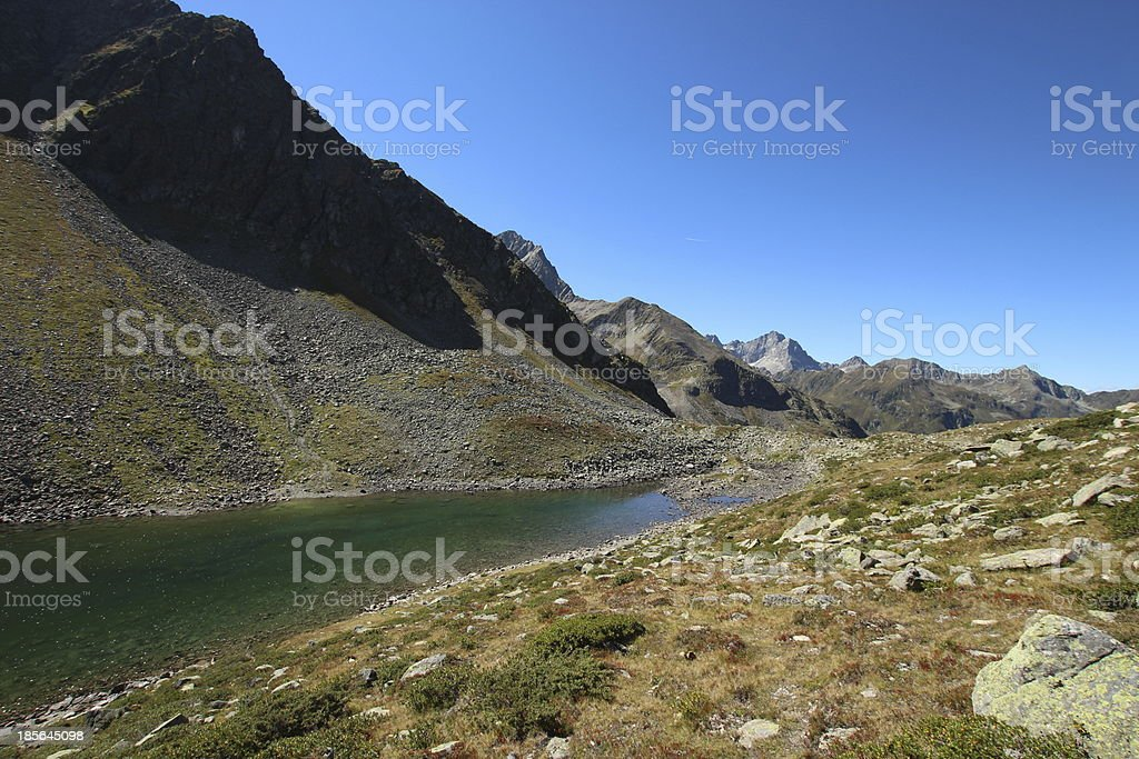 Panorama Alpine Mountain Lake Mittlerer Plenderlesee, Kühtai, Tyrol, Austria royalty-free stock photo