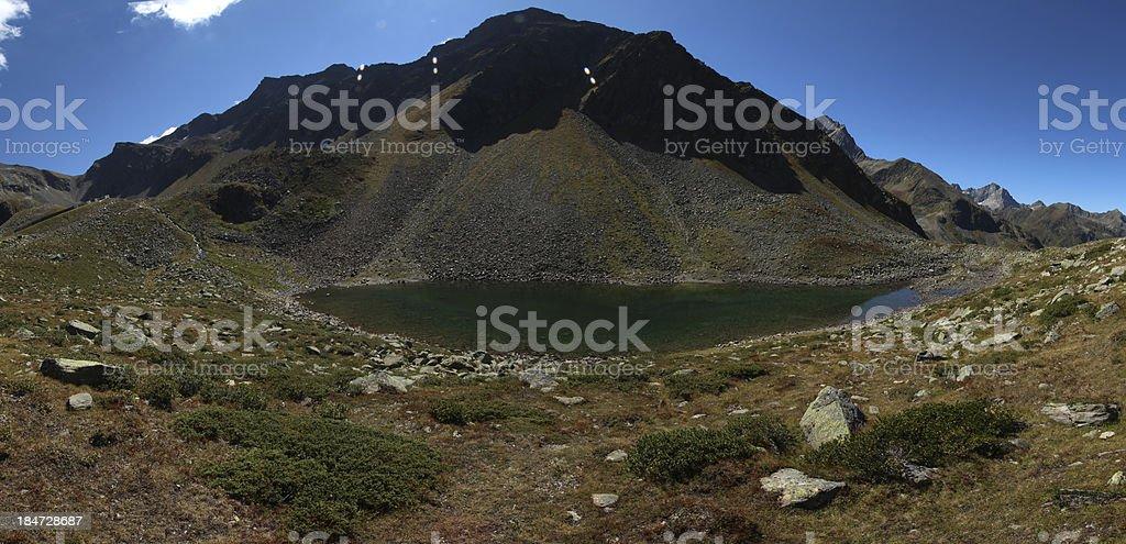 Panorama Alpine Mountain Lake Unterer Plenderlesee, Kühtai, Tyrol, Austria royalty-free stock photo