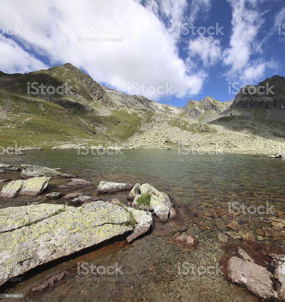 Panorama Alpine Mountain Lakes of Schwarzmoos, Kühtai, Tyrol, Austria royalty-free stock photo