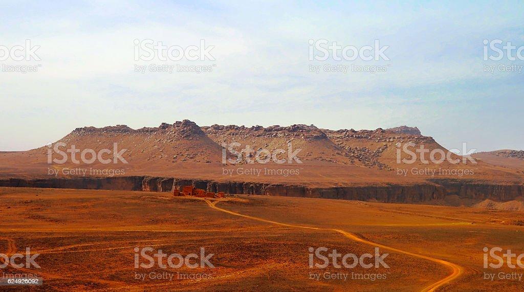 Panorama Amojjar Pass and ruins of Saganne fort, Adrar, Mauritania stock photo