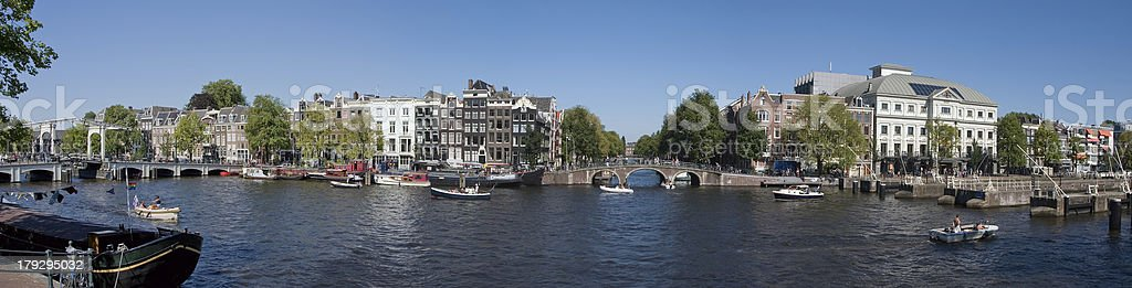Panorama Amstel river (Amsterdam, the Netherlands) royalty-free stock photo