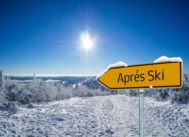 Panorama Apres Ski Arrow Sign Panorama Apres Ski Arrow Sign apres ski stock pictures, royalty-free photos & images