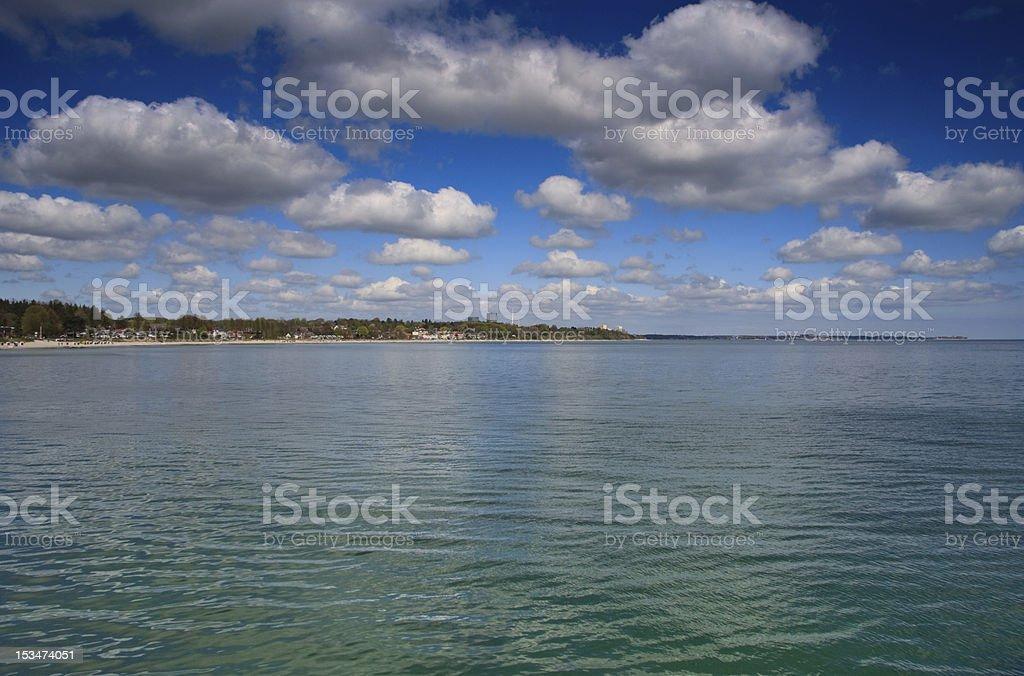 Panoramablick auf Bucht von Lübeck - Lizenzfrei Blau Stock-Foto
