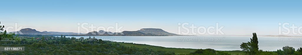 panorama at lake Balaton over sea and hills stock photo