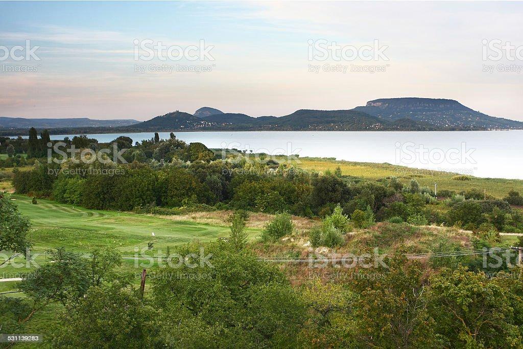 panorama at lake Balaton over sea and hills stock photo