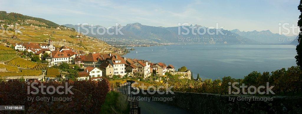 Panorama at Lavaux stock photo