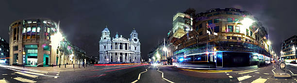 Panorama at night of St Paul's Cathedral HDR panorama on Ludgate Hill towards St Paul's Cathedral at night.  360 degree view stock pictures, royalty-free photos & images