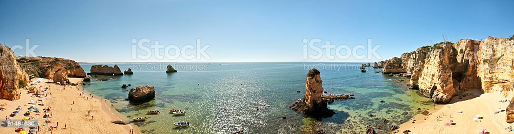Panorama at Praia D'Ana in Lagos Portugal royalty-free stock photo