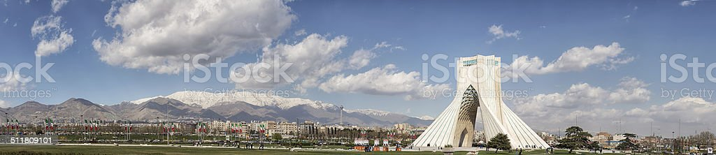 Panorama Azadi Tower and Milad tower, Tehran Iran stock photo