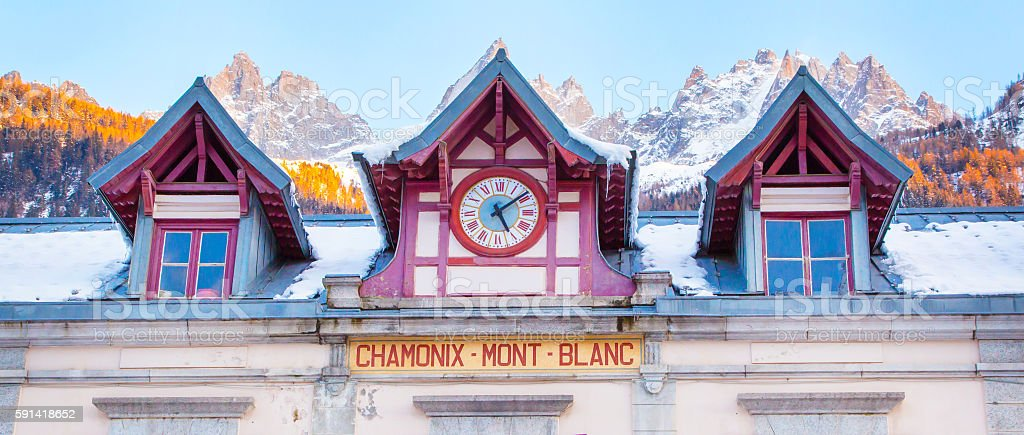 panorama background of Chamonix train station,Mont Blanc, France and stock photo
