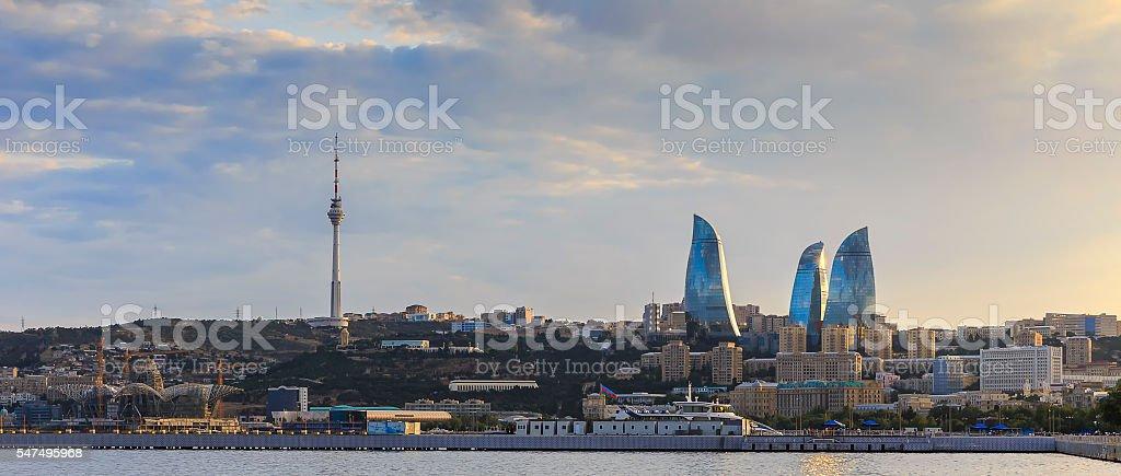Panorama Baku boulevard at sunset stock photo