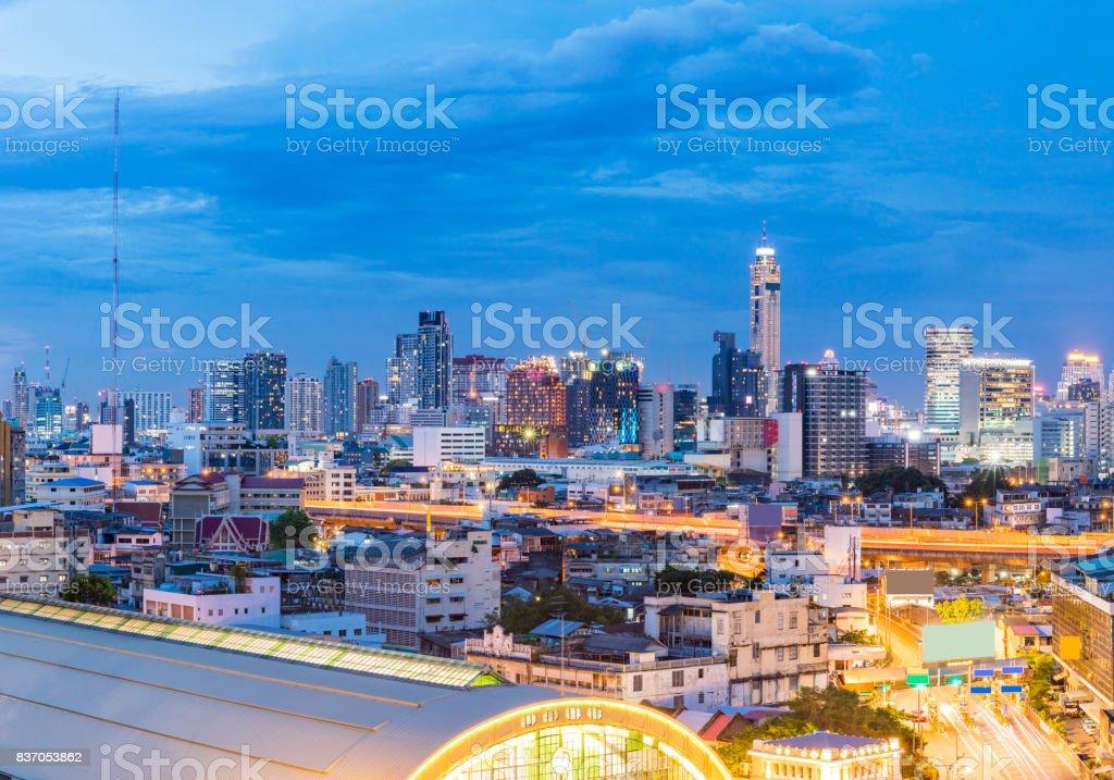 Panorama Bangkok Central Train Station stock photo