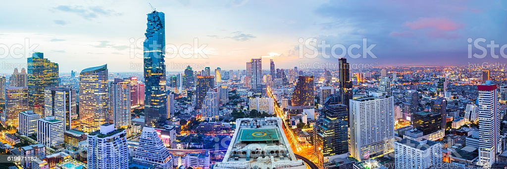 Panorama Bangkok city at sunset in business district area stock photo