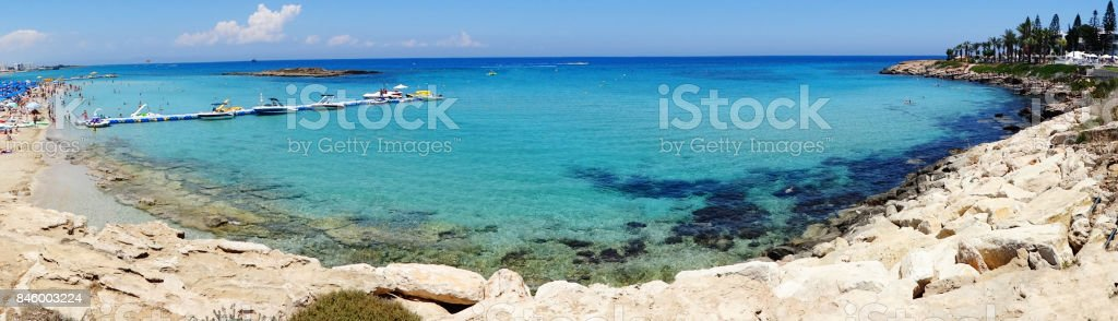 panorama beach coast landscape mediterranean sea Cyprus island stock photo