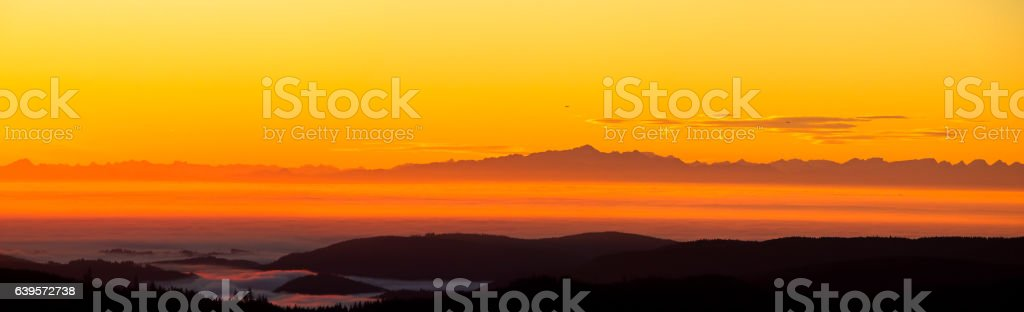 Panorama Black Forest with Alps stock photo