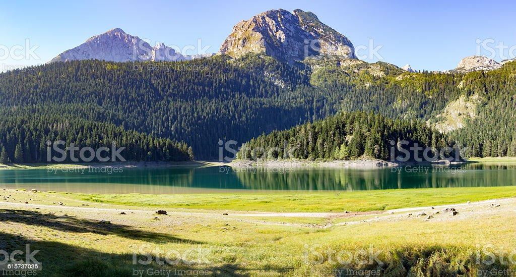 Panorama black lake in the park Durmitor stock photo