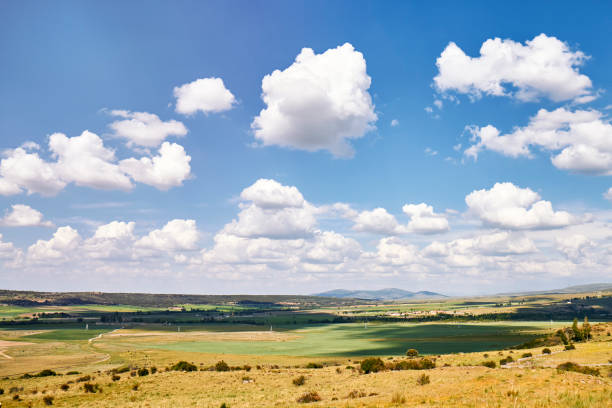 Panorama blue sky with white cloud background on an autumn field stock photo