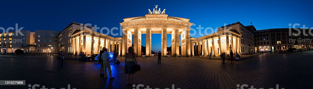 Panorama Brandenburg Gate at night royalty-free stock photo