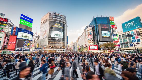 Panorama Busy Crowded Tokyo Shibuya Crossing Japan