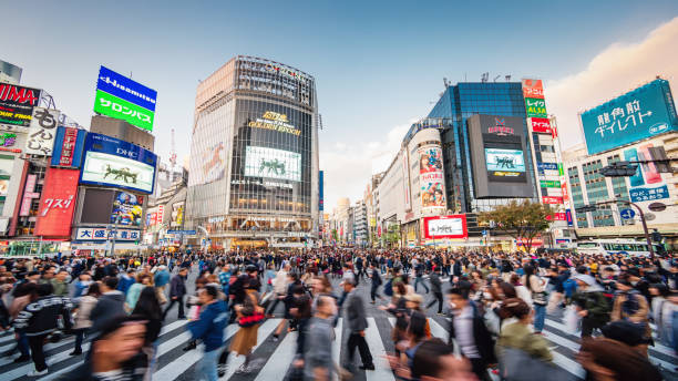 Panorama Busy Crowded Tokyo Shibuya Crossing Japan – Foto