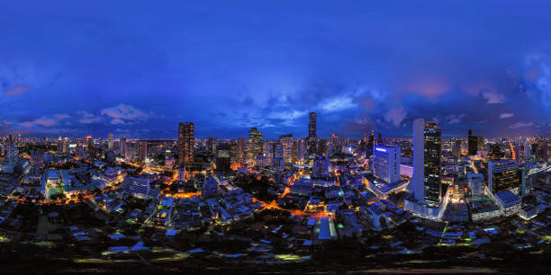 360 panorama by 180 degrees angle seamless panorama view of aerial view of Bangkok Downtown Skyline. Thailand. Financial district and business centers in urban city. Skyscraper buildings at night. 360 panorama by 180 degrees angle seamless panorama view of aerial view of Bangkok Downtown Skyline. Thailand. Financial district and business centers in urban city. Skyscraper buildings at night. 360 degree view stock pictures, royalty-free photos & images