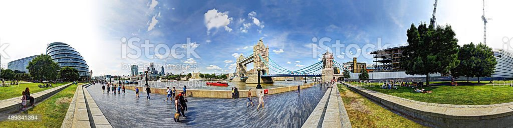Panorama by Tower Bridge, London stock photo