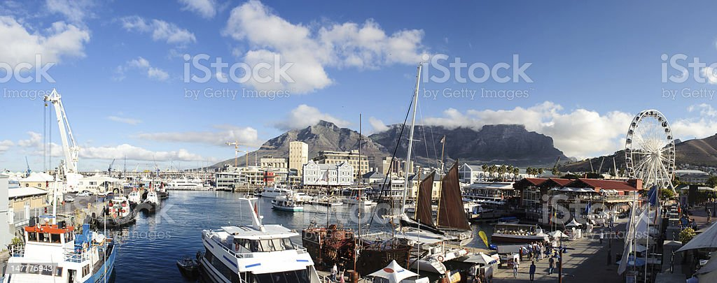 Panorama Cape Town waterfront in South Africa stock photo